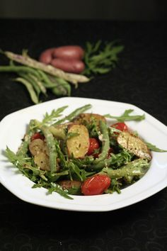 Dragon Bean, Arugula and Tomato and Roasted Fingerling Salad