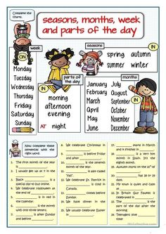 SEASONS, MONTHS, WEEK, PARTS OF THE DAY - FILL IN THE GAPS worksheet - Free ESL printable worksheets made by teachers