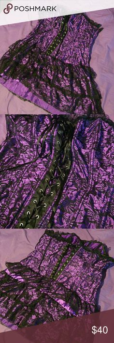 Sexy Goth Purple and Black Dress! One of a kind super pretty! Zipps on the side! Great for a photo shoot, concert, cosplay, sexy time! NWOT it says 5xl but runs small fits more of a XL 1X Hot Topic Dresses Mini