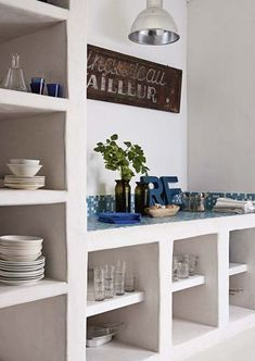66 Ideas For Kitchen Interior Shelves Home Decor Kitchen, Rustic Kitchen, Kitchen Interior, New Kitchen, Home Kitchens, Kitchen White, Kitchen Walls, Kitchen Island, Kitchen Ideas
