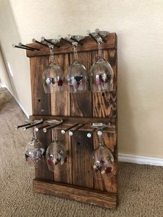 This is the double wide wine glass holder that holds 8 glasses. This will be a conversation piece for sure. looks great in the kitchen or behind the bar. Wine Rack Design, Wine Glass Holder, Wine Glass Storage, Bois Diy, Wine Decor, Diy Wood Projects, Glass Shelves, Diy Furniture, Furniture Market