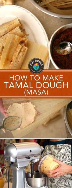 Tamal Dough (Masa para Tamales) The most vital ingredient in making the perfect tamal is the masa. Masa is the plain, wet stone-ground dough made with a special corn known as nixtamal. I hope this vid Authentic Mexican Recipes, Mexican Food Recipes, Mexican Desserts, Masa For Tamales, Pork Tamales, Ground Beef Tamales Recipe, Recipe For Tamales, Authentic Tamales Recipe, Bon Appetit