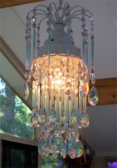 Blue Opaline Petite Crystal Chandelier for an angel...