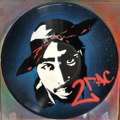 Artistic version of 2Pac Tupac vinyl record spray paint handmade decoration stencil clock by GoVinyls on Etsy