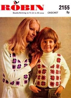 Items similar to PDF Vintage Womens Ladies Waistcoat Crochet Pattern Granny Square ROBIN 2155 Girl Baby Boho Larger Sizes Groovy Hippy Chick on Etsy Crochet Motifs, Knit Crochet, Crochet Patterns, Vintage Knitting, Vintage Crochet, Crochet Waistcoat, Double Knitting, Easy Knitting, Hippie Chick