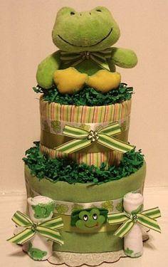 cute frog diaper cake