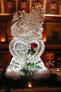 Elegant Swan on a heart Ice Sculpture _Ice Sculpture _Wedding _Events