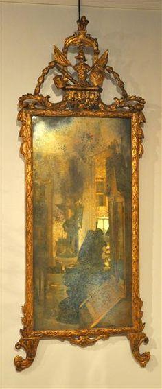XVIII C. Italian Gilt Carved Mirror