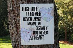 """16x20  """"...never apart..."""" quote  Customize with your choice of maps- canvas with map hearts"""