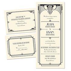 Art Deco Arch 3 for 1 Wedding Invitation - Ecru | Cheap Invites at Invitations By Dawn
