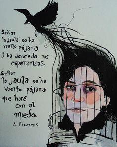 Gracias a la poeta mexicana Emmanuel Fares, he podido compartir con vosotros esta joya.  Una imagen hecha para ser leída: Pizarnik me maravilla...