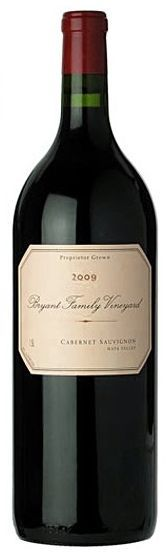 Bryant Family 2009 Cabernet Sauvignon 1.5L    The 2009 Cabernet Sauvignon bursts from the glass with rich, dark red fruit, smoke, licorice and incense. The aromas and flavors are a touch ripe, exotic and totally seductive. Polished, silky tannins frame the fruit beautifully through to the finish, where floral notes add the lift and brightness. The 2009 isn't a huge wine, but it is immensely appealing.