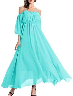 Afibi Women's Off-Shoulder Long Chiffon Casual Dress Maxi Evening Dress (Medium, Mint) at Amazon Women's Clothing store: