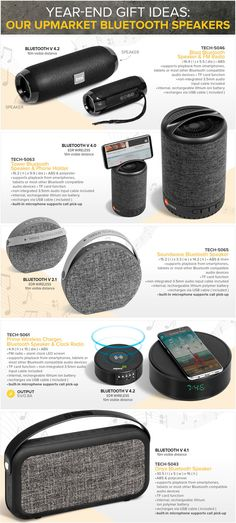 Year-end gift ideas: Our Upmarket Bluetooth Speakers Blast Bluetooth Speaker & FM Radio Tower Bluetooth Speaker & Phone Holder Soundwave Bluetooth Speaker Prime Wireless Charger, Bluetooth Speaker & Clock Radio Onyx Bluetooth Speaker Promo Gifts, Sound Waves, Bluetooth Speakers, Corporate Gifts, Phone Holder, Cell Phone Accessories, Charger, Stylus, Tower