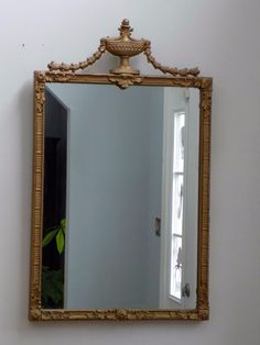 18th Cent. Carved Giltwood Mirror Louis XVI ? Urn Crest Laurel Leaves Classical #Neoclassical