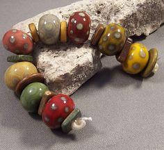 Handmade Lampwork Bead Set - My Organic Blossoms - Handmade Lampwork Glass Beads by Mona Organic Earth tones Boho 2013