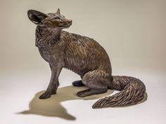Bronze resin #sculpture by #sculptor Nick Mackman titled: 'Fox (Sitting Fox Bronze resin statuette or figurine)'. #NickMackman