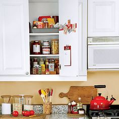 De-clutter your shelves by keeping the items you use most in sealed containers right on your countertops!