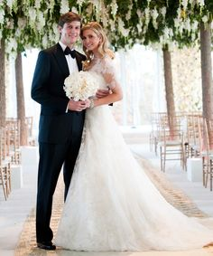 Ivanka Trump and Jared Kushner were married in a Jewish wedding ceremony at Trump National Golf Club. Trump wore a Vera Wang lace wedding dress and of diamond jewelry from the Ivanka Trump Collection. Melania Trump Wedding, Ivanka Trump Wedding Dress, Ivanka Dress, Celebrity Wedding Dresses, Wedding Dresses Photos, Celebrity Weddings, Wedding Pictures, Celebrity Wedding Photos, Famous Wedding Dresses
