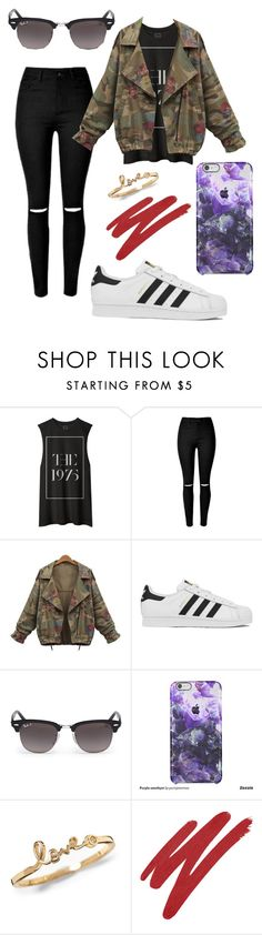 """""""-The 1975-"""" by eemaj ❤ liked on Polyvore featuring adidas, Ray-Ban, NARS Cosmetics, women's clothing, women, female, woman, misses and juniors"""