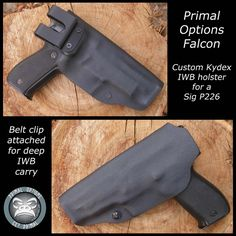Custom Kydex Falcon Slimline IWB Holster for a Sig P226. Belt clip attached for deep IWB carry.  Adjustable retention.  Full sweat guard. 10° forward cant.  Angled belt clip to keep grips tight against the body.