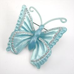 Blue Butterfly Brooch, Pearlized Plastic, Clear Rhinestones, Baby Blue, Vintage Costume Jewelry, Circa 1940s
