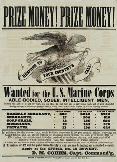 navy and marine corps recruiting poster   Prize Money!
