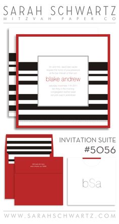 A modern red Bar Mitzvah invitation suite with stripes