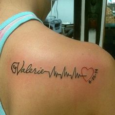 The heartbeat tattoo is one of the rarest and most adorable tattoo designs. These tattoos take the design of the irregular lines, also called the EKG lines. Heartbeat Tattoo With Name, Heartbeat Tattoo Design, In A Heartbeat, Heartbeat Tattoos, Tattoo Kind, 1 Tattoo, Tattoo Fonts, Saved Tattoo, Mama Tattoos
