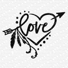 Love - Heart with Arrow and Feathers | Chameleon Cuttables