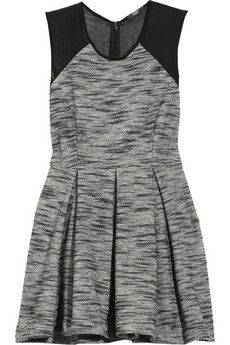 Dark-gray tweed pleated dress with a sheer black tulle panel at shoulders and back. Markus Lupfer dress is sleeveless, has a concealed zip fastening at back and is partially lined. Nyc Fashion, Fashion Outfits, Fashion Women, Gray Dress, Dress Up, Short Dresses, Dresses For Work, Transparent Dress, Markus Lupfer