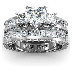 2.15 Ct Heart Shaped 3 Stone Diamond Engagement Wedding Rings Set FLAWLESS GIA