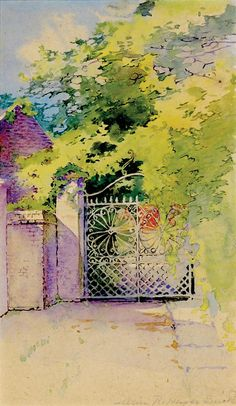 Smith, Alice Ravenel Huger; Watercolor Painting, signed, Wrought Iron Gate, Charleston.