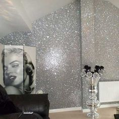 A sample of our stunning textured chunky glitter fabric wall-covering. SAMPLE Glitter Wallpaper - PREMIUM Fabric Backed. Unlike sub-standard replicas, our glitter is not only chunky but thick and textured. Glitter Bedroom, Glitter Paint For Walls, Glitter Wallpaper Bedroom, Silver Glitter Wallpaper, Glitter Home Decor, Sparkle Paint, Gold Bedroom, Glitter Paint Living Room, Glitter Paint Designs