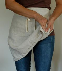 Show it in use! much better than just hanging Linen Apron Cafe Apron Half Apron by bonnbonn on Etsy, $42.00
