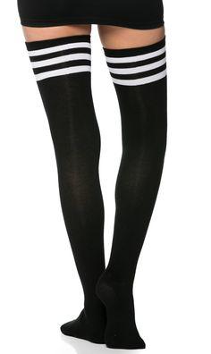 9d0812912 Collegiate Striped Thigh High Socks in Black