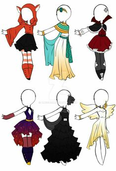 Cheap Halloween Outfits OPEN by Aligelica on DeviantArt de halloween dibujos Art Drawings Sketches, Kawaii Drawings, Cute Drawings, Outfit Drawings, Art Illustrations, Drawing Anime Clothes, Manga Clothes, Dress Drawing, Drawing Drawing