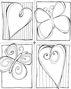 Heart and butterfly frame doodles Tangle Doodle, Doodles Zentangles, Zen Doodle, Zentangle Patterns, Doodle Art, Doodle Lettering, Hand Lettering, Pintura Country, Doodle Drawings