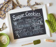 Chalkboard PRINT Sugar Cookies  Kitchen by ColorandDustStudios