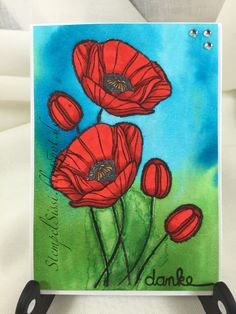 Mohnblume Karte Poppy card Technique Tuesday Aquarell Watercolor