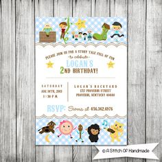 Nursery Rhymes Birthday Card  5x7 JPG by AStitchOfHandmade on Etsy, $10.00