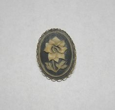 1970s Vintage Carved Ivory and Gray Cameo Flower Brooch with Gold Tone Frame, ~~by Victorian Wardrobe by VictorianWardrobe on Etsy