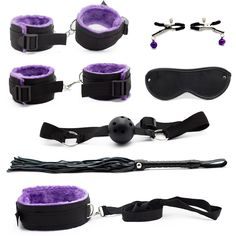 9.88$  Buy here - http://alix2s.shopchina.info/go.php?t=32773237386 - 7 pcs/set Role Adult Game Erotic Toys for Couples Handcuffs for Sex Womanizer Purple bdsm Bondage Restraint Sex Product Shop  #magazineonlinewebsite
