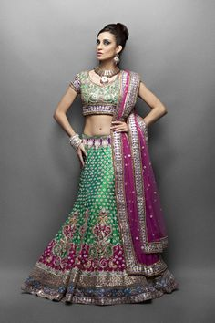 Green silk ethnic bridal Lehenga with gota patti