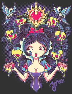 Snow white shirt by Jehsee, poison apple, skeletons, birds, halloween , disney http://www.neatoshop.com/artist/jehsee (to purchase)  https://www.facebook.com/JehseeArt (artist page)
