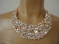 Rose Gold Tone Bridal Statement Necklace  by TheCrystalRose, $275.00