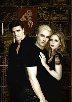 Spike & Buffy, with Angel in the background