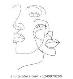 Continuous Line Drawing Set Faces Hairstyle Stock-Vektorgrafik (Lizenzfrei) 1194723013 - Continuous line, drawing of set faces and hairstyle, fashion concept, woman beauty minimalist, vect - Face Line Drawing, Woman Drawing, Drawing Faces, Drawing Tips, Art Sketches, Art Drawings, Dress Sketches, Abstract Face Art, Outline Art