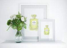 Chanel No. 19 perfume watercolor printable illustration