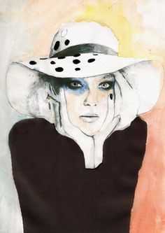 Chanel fashion Inspired Art Illustration Womans Face Limited Print Mounted 16x12